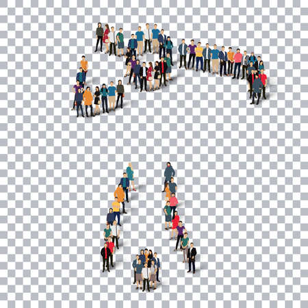 crowded: Isometric set of styles, people, sports, golf , web infographics concept of a crowded square, flat 3d. Crowd point group forming a predetermined shape. Creative people.  illustration. transparent background