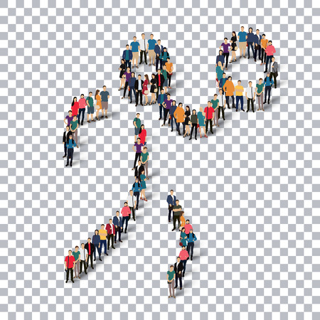 crowded: Isometric set of styles, people, sports, volleyball , web infographics concept  illustration of a crowded square, flat 3d. Crowd point group forming a predetermined shape. Creative people. transparent background Stock Photo
