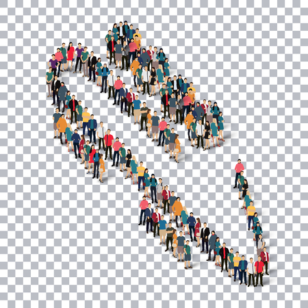 Isometric set of styles, people, sports, bobsled , web infographics concept  illustration of a crowded square, flat 3d. Crowd point group forming a predetermined shape. Creative people. transparent background