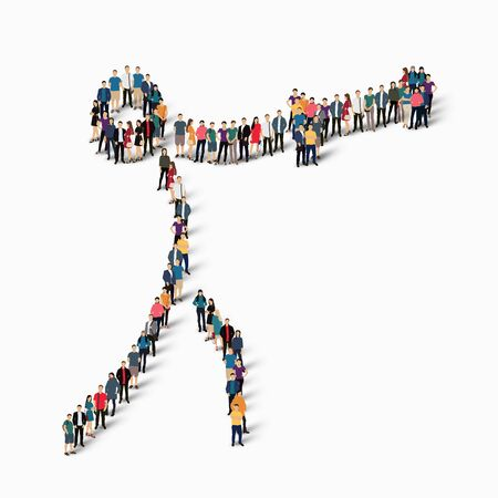 crowded: Isometric set of styles, people, sports, hammer throw , web infographics concept of a crowded square, flat 3d. Crowd point group forming a predetermined shape. Creative people.  illustration. White background . Isolated.