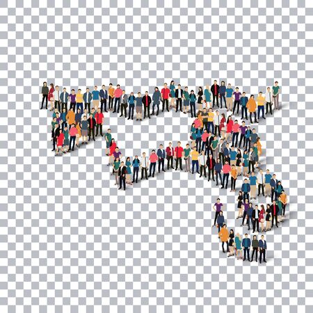 Isometric set of styles, people, sports, diving , web infographics concept  illustration of a crowded square, flat 3d. Crowd point group forming a predetermined shape. Creative people. transparent background Stock Photo