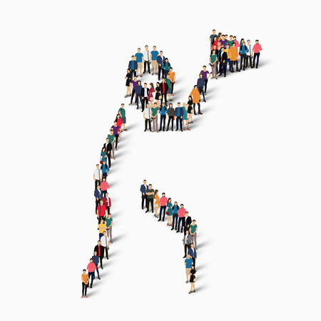 Isometric set of styles, people, sports, hammer throw , web infographics concept of a crowded square, flat 3d. Crowd point group forming a predetermined shape. Creative people.  illustration. White background . Isolated.