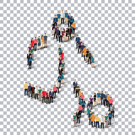 Isometric set of styles, people, sports, football , web infographics concept  illustration of a crowded square, flat 3d. Crowd point group forming a predetermined shape. Creative people. transparent background