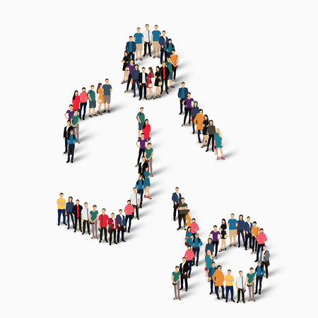 crowded: Isometric set of styles, people, sports, football , web infographics concept  illustration of a crowded square, flat 3d. Crowd point group forming a predetermined shape. Creative people. White background . Isolated. Stock Photo