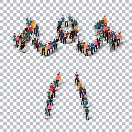 crowded: Isometric set of styles, people, sports, body-building , web infographics concept of a crowded square, flat 3d. Crowd point group forming a predetermined shape. Creative people.  illustration. transparent background