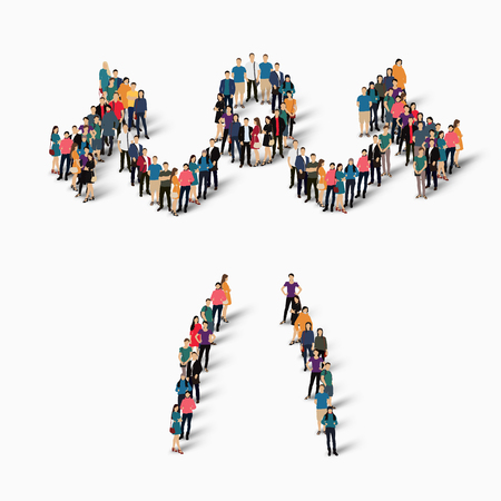 Isometric set of styles, people, sports, body-building , web infographics concept of a crowded square, flat 3d. Crowd point group forming a predetermined shape. Creative people.  illustration. White background . Isolated.