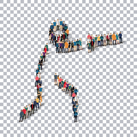 Isometric set of styles, people, sports, hammer throw , web infographics concept of a crowded square, flat 3d. Crowd point group forming a predetermined shape. Creative people.  illustration. transparent background