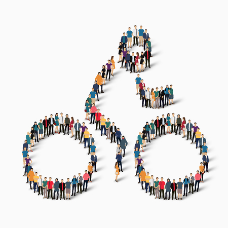 Isometric set of styles, people, sports, cycling , web infographics concept of a crowded square, flat 3d. Crowd point group forming a predetermined shape. Creative people.  illustration. White background . Isolated.