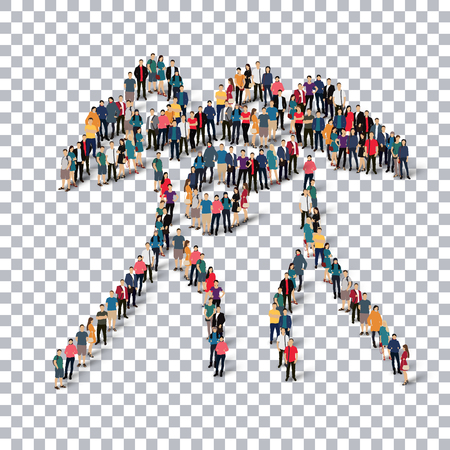crowded: Isometric set of styles, people, sports, boxing , web infographics concept of a crowded square, flat 3d. Crowd point group forming a predetermined shape. Creative people.  illustration. transparent background Stock Photo