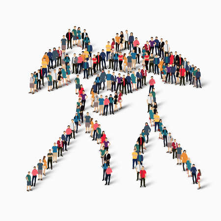 Isometric set of styles, people, sports, boxing , web infographics concept of a crowded square, flat 3d. Crowd point group forming a predetermined shape. Creative people.  illustration. White background . Isolated. Stock Photo