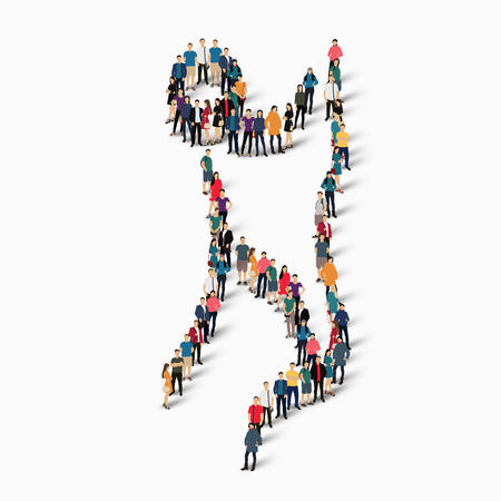 crowded: Isometric set of styles, people, sports, gymnastics, web infographics concept of a crowded square, flat 3d. Crowd point group forming a predetermined shape. Creative people.  illustration. White background . Isolated.