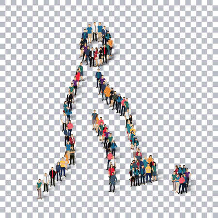 Isometric set of styles, people, sports, golf , web infographics concept of a crowded square, flat 3d. Crowd point group forming a predetermined shape. Creative people.  illustration. transparent background