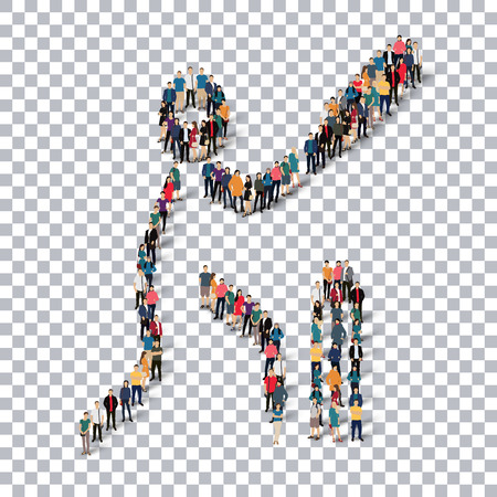 Isometric set of styles, people, sports, cricket , web infographics concept of a crowded square, flat 3d. Crowd point group forming a predetermined shape. Creative people.  illustration. transparent background