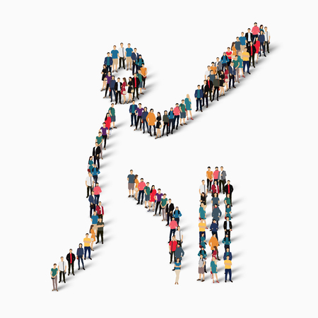 Isometric set of styles, people, sports, cricket , web infographics concept of a crowded square, flat 3d. Crowd point group forming a predetermined shape. Creative people.  illustration. White background . Isolated.