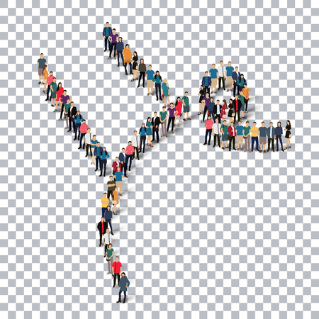 Isometric set of styles, people, sports, gymnastics, web infographics concept of a crowded square, flat 3d. Crowd point group forming a predetermined shape. Creative people.  illustration. transparent background Stock Photo
