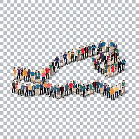crowded: Isometric set of styles, people, sports, diving , web infographics concept  illustration of a crowded square, flat 3d. Crowd point group forming a predetermined shape. Creative people. transparent background Stock Photo