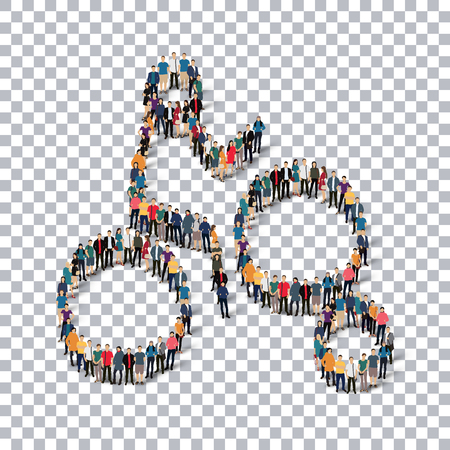 crowded: Isometric set of styles, people, sports, enduro , web infographics concept of a crowded square, flat 3d. Crowd point group forming a predetermined shape. Creative people.  illustration. transparent background
