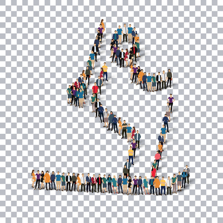 crowded: Isometric set of styles, people, sports, biathlon , web infographics concept of a crowded square, flat 3d. Crowd point group forming a predetermined shape. Creative people.  illustration. transparent background