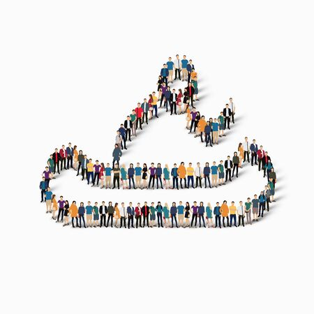 crowded: Isometric set of styles, people, sports, canoeing , web infographics concept of a crowded square, flat 3d. Crowd point group forming a predetermined shape. Creative people.  illustration. White background . Isolated. Stock Photo