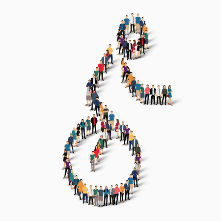 Isometric set of styles, people, sports, circus arts , web infographics concept of a crowded square, flat 3d. Crowd point group forming a predetermined shape. Creative people.  illustration. White background . Isolated.