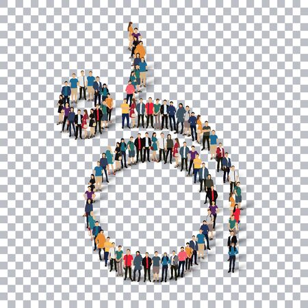 crowded: Isometric set of styles, people, sports, gymnastics, web infographics concept of a crowded square, flat 3d. Crowd point group forming a predetermined shape. Creative people.  illustration. transparent background Stock Photo