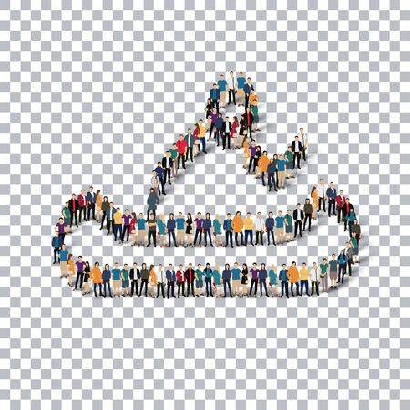 crowded: Isometric set of styles, people, sports, canoeing , web infographics concept of a crowded square, flat 3d. Crowd point group forming a predetermined shape. Creative people.  illustration. transparent background