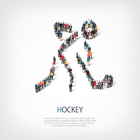 Isometric set of styles, people, sports, hockey , web infographics concept  illustration of a crowded square, flat 3d. Crowd point group forming a predetermined shape. Creative people. Stock Photo