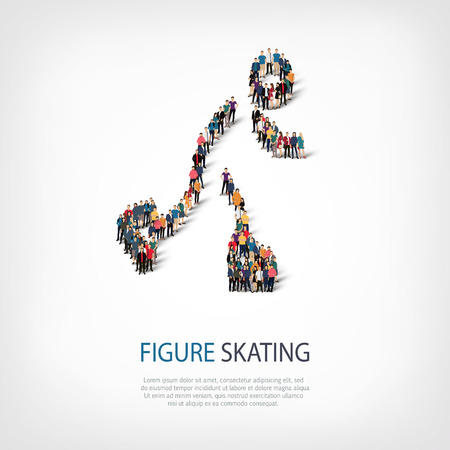 Isometric set of styles, people, sports, figure skating , web infographics concept  illustration of a crowded square, flat 3d. Crowd point group forming a predetermined shape. Creative people. Stock Photo