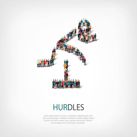 hurdles: Isometric set of styles, people, sports, hurdles , web infographics concept  illustration of a crowded square, flat 3d. Crowd point group forming a predetermined shape. Creative people. Stock Photo