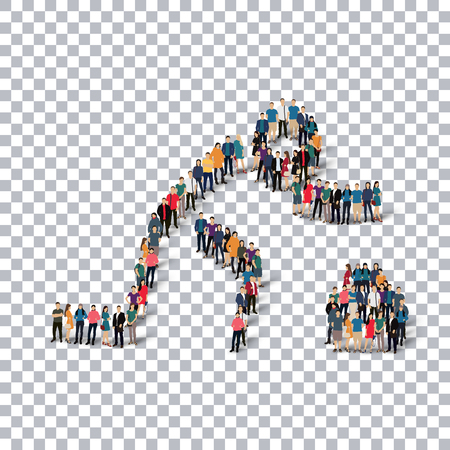 crowded: Isometric set of styles, people, sports, curling , web infographics concept of a crowded square, flat 3d. Crowd point group forming a predetermined shape. Creative people.  illustration. transparent background