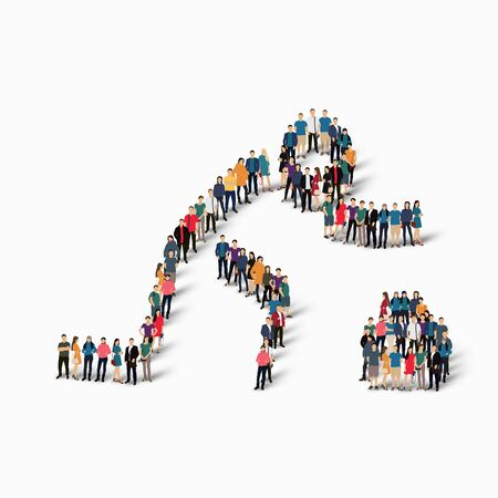 busy street: Isometric set of styles, people, sports, curling , web infographics concept of a crowded square, flat 3d. Crowd point group forming a predetermined shape. Creative people.  illustration. White background . Isolated. Stock Photo