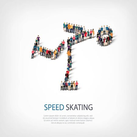 crowded: Isometric set of styles, people, sports, speed skating , web infographics concept  illustration of a crowded square, flat 3d. Crowd point group forming a predetermined shape. Creative people. Stock Photo