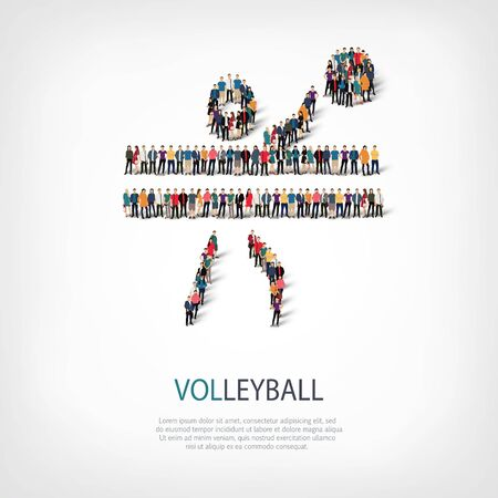 crowded: Isometric set of styles, people, sports, volleyball , web infographics concept  illustration of a crowded square, flat 3d. Crowd point group forming a predetermined shape. Creative people.