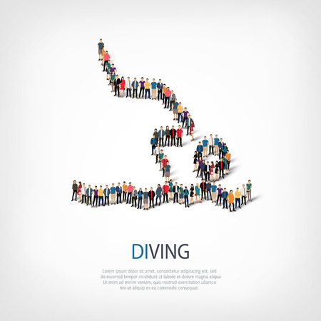 crowded: Isometric set of styles, people, sports, diving , web infographics concept  illustration of a crowded square, flat 3d. Crowd point group forming a predetermined shape. Creative people. Stock Photo