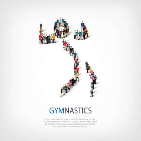 busy street: Isometric set of styles, people, sports, gymnastics, web infographics concept of a crowded square, flat 3d. Crowd point group forming a predetermined shape. Creative people.  illustration.