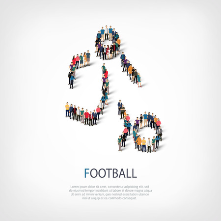 crowded: Isometric set of styles, people, sports, football , web infographics concept  illustration of a crowded square, flat 3d. Crowd point group forming a predetermined shape. Creative people.