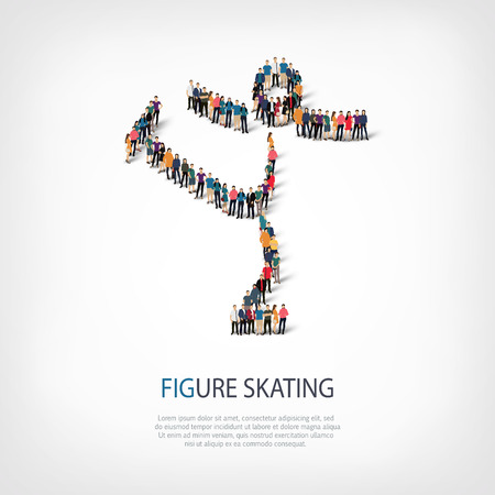crowded: Isometric set of styles, people, sports, figure skating , web infographics concept of a crowded square, flat 3d. Crowd point group forming a predetermined shape. Creative people.  illustration. Stock Photo