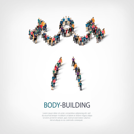 crowded: Isometric set of styles, people, sports, body-building , web infographics concept of a crowded square, flat 3d. Crowd point group forming a predetermined shape. Creative people.  illustration.