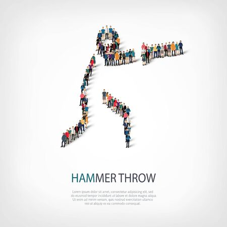 hammer throw: Isometric set of styles, people, sports, hammer throw , web infographics concept of a crowded square, flat 3d. Crowd point group forming a predetermined shape. Creative people.  illustration. Stock Photo