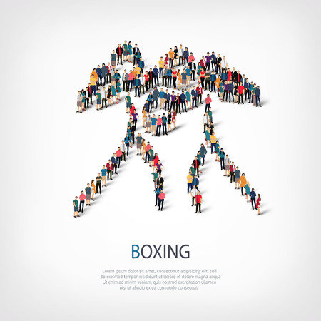 crowded: Isometric set of styles, people, sports, boxing , web infographics concept of a crowded square, flat 3d. Crowd point group forming a predetermined shape. Creative people.  illustration.