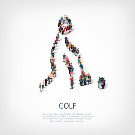 crowded: Isometric set of styles, people, sports, golf , web infographics concept of a crowded square, flat 3d. Crowd point group forming a predetermined shape. Creative people.  illustration.