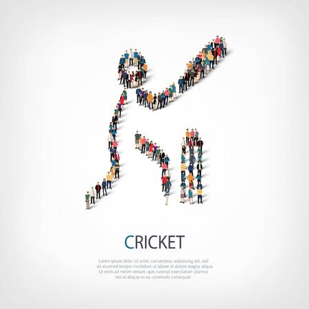 crowded: Isometric set of styles, people, sports, cricket , web infographics concept of a crowded square, flat 3d. Crowd point group forming a predetermined shape. Creative people.  illustration.