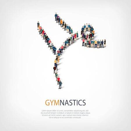 crowded: Isometric set of styles, people, sports, gymnastics, web infographics concept of a crowded square, flat 3d. Crowd point group forming a predetermined shape. Creative people.  illustration. Stock .3D illustration.