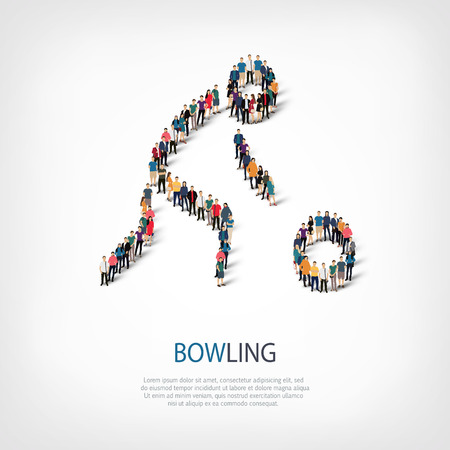 Isometric set of styles, people, sports, bowling , web infographics concept of a crowded square, flat 3d. Crowd point group forming a predetermined shape. Creative people.  illustration.