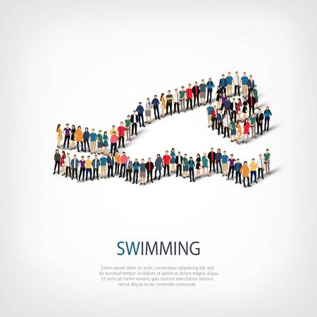 crowded: Isometric set of styles, people, sports, swimming , web infographics concept of a crowded square, flat 3d. Crowd point group forming a predetermined shape. Creative people.  illustration. Stock Photo