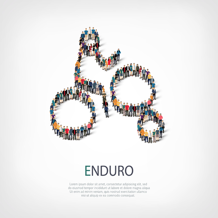 Isometric set of styles, people, sports, enduro , web infographics concept of a crowded square, flat 3d. Crowd point group forming a predetermined shape. Creative people.  illustration.