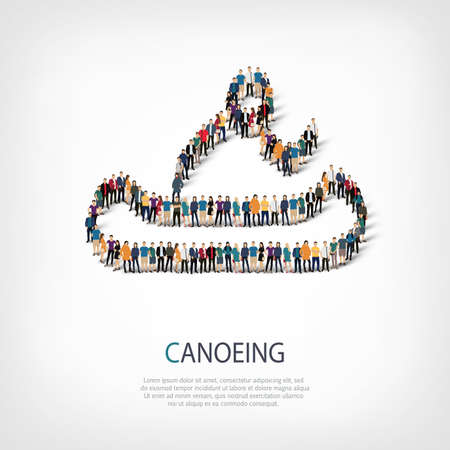 crowded: Isometric set of styles, people, sports, canoeing , web infographics concept of a crowded square, flat 3d. Crowd point group forming a predetermined shape. Creative people.  illustration.