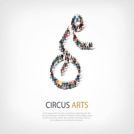 crowded: Isometric set of styles, people, sports, circus arts , web infographics concept of a crowded square, flat 3d. Crowd point group forming a predetermined shape. Creative people.  illustration.