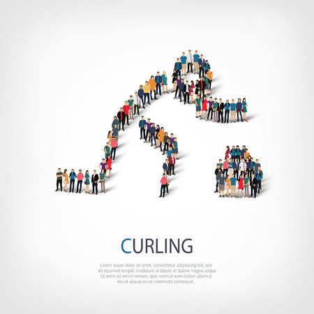 crowded: Isometric set of styles, people, sports, curling , web infographics concept of a crowded square, flat 3d. Crowd point group forming a predetermined shape. Creative people.  illustration.