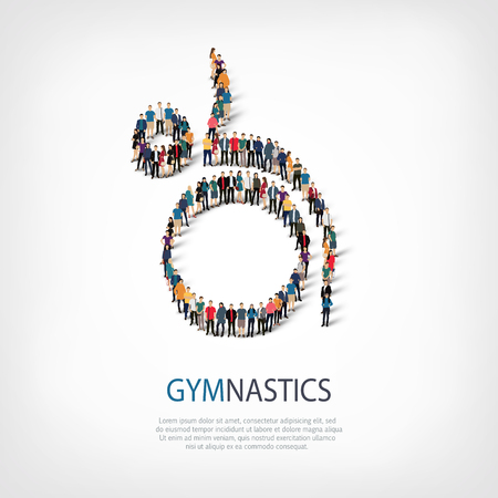 busy street: Isometric set of styles, people, sports, gymnastics, web infographics concept of a crowded square, flat 3d. Crowd point group forming a predetermined shape. Creative people.  illustration. Stock .3D illustration.